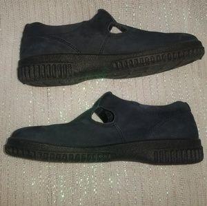 Ecco Shoes - Ecco Soft Blue Suede Mary Jane Strap Flats sz 37